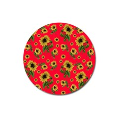Sunflowers Pattern Magnet 3  (round)