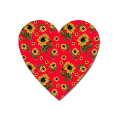 Sunflowers Pattern Heart Magnet