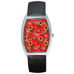 Sunflowers Pattern Barrel Style Metal Watch