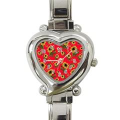 Sunflowers Pattern Heart Italian Charm Watch