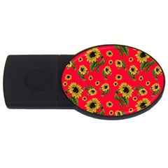 Sunflowers Pattern Usb Flash Drive Oval (4 Gb)