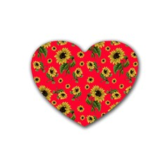 Sunflowers Pattern Heart Coaster (4 Pack)