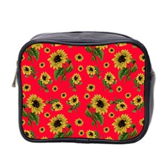 Sunflowers Pattern Mini Toiletries Bag 2 Side