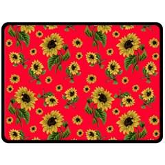Sunflowers Pattern Fleece Blanket (large)