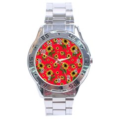 Sunflowers Pattern Stainless Steel Analogue Watch