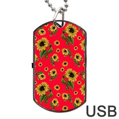 Sunflowers Pattern Dog Tag Usb Flash (two Sides)