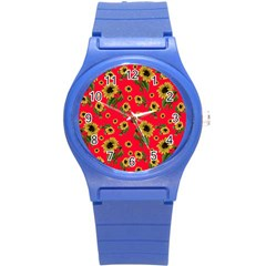 Sunflowers Pattern Round Plastic Sport Watch (s)
