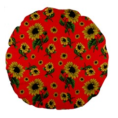 Sunflowers Pattern Large 18  Premium Round Cushions