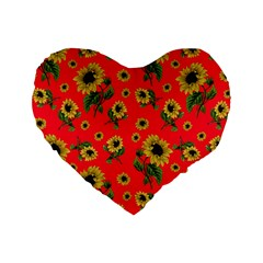 Sunflowers Pattern Standard 16  Premium Heart Shape Cushions