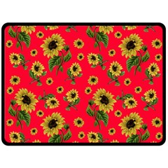 Sunflowers Pattern Double Sided Fleece Blanket (large)