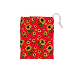 Sunflowers Pattern Drawstring Pouches (small)