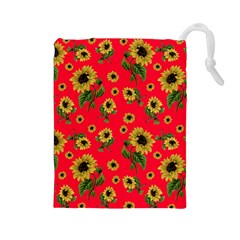 Sunflowers Pattern Drawstring Pouches (large)