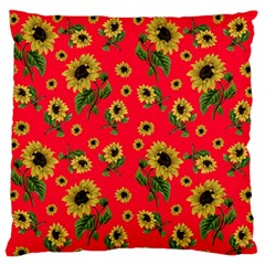 Sunflowers Pattern Large Flano Cushion Case (one Side)