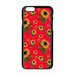 Sunflowers Pattern Apple Iphone 6/6s Black Enamel Case