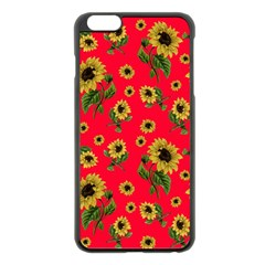 Sunflowers Pattern Apple Iphone 6 Plus/6s Plus Black Enamel Case