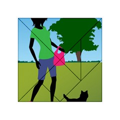 Cairn Terrier In Park Art Acrylic Tangram Puzzle (4  X 4 )