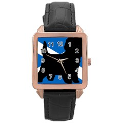 Cairn Terrier Silhouette Scotland Flag Rose Gold Leather Watch