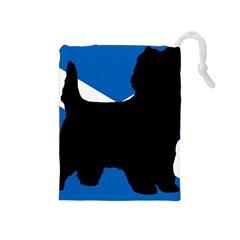 Cairn Terrier Silhouette Scotland Flag Drawstring Pouches (medium)