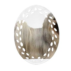 Lhasa Apso Full Oval Filigree Ornament (two Sides)