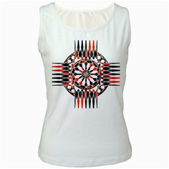 Geometric Celtic Cross Women s White Tank Top