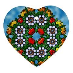 Cute Floral Mandala  Ornament (heart)
