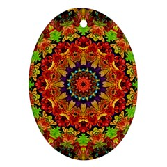 Fractal Mandala Abstract Pattern Oval Ornament (two Sides)