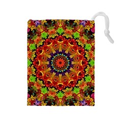 Fractal Mandala Abstract Pattern Drawstring Pouches (large)