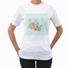 Watercolor Floral Blue Cute Butterfly Illustration Women s T Shirt (white) (two Sided)