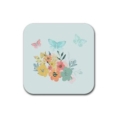 Watercolor Floral Blue Cute Butterfly Illustration Rubber Square Coaster (4 Pack)