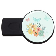 Watercolor Floral Blue Cute Butterfly Illustration Usb Flash Drive Round (2 Gb)