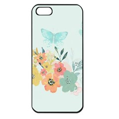 Watercolor Floral Blue Cute Butterfly Illustration Apple Iphone 5 Seamless Case (black)