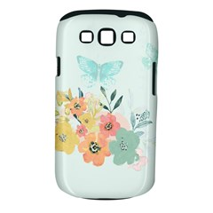 Watercolor Floral Blue Cute Butterfly Illustration Samsung Galaxy S Iii Classic Hardshell Case (pc+silicone)