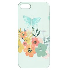 Watercolor Floral Blue Cute Butterfly Illustration Apple Iphone 5 Hardshell Case With Stand