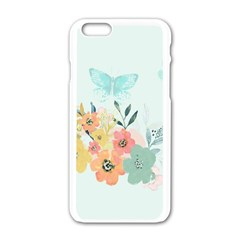 Watercolor Floral Blue Cute Butterfly Illustration Apple Iphone 6/6s White Enamel Case