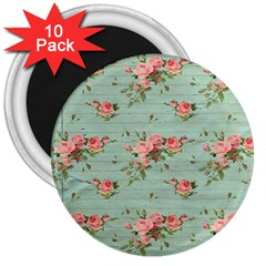 Vintage Blue Wallpaper Floral Pattern 3  Magnets (10 Pack)