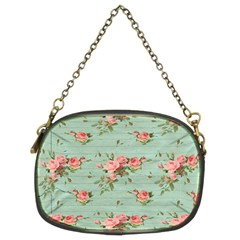 Vintage Blue Wallpaper Floral Pattern Chain Purses (two Sides)