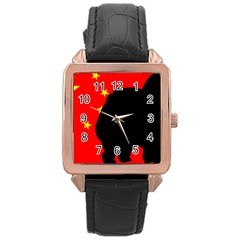 Chow Chow Silo China Flag Rose Gold Leather Watch