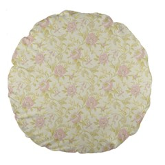 Floral Paper Pink Girly Pattern Large 18  Premium Flano Round Cushions