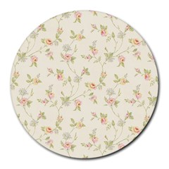 Floral Paper Pink Girly Cute Pattern  Round Mousepads
