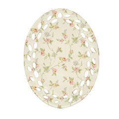 Floral Paper Pink Girly Cute Pattern  Oval Filigree Ornament (two Sides)