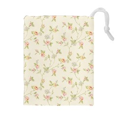 Floral Paper Pink Girly Cute Pattern  Drawstring Pouches (extra Large)