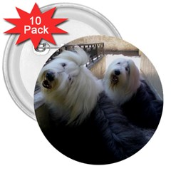 2 Old English Sheepdogs 3  Buttons (10 Pack)