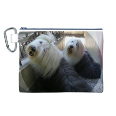 2 Old English Sheepdogs Canvas Cosmetic Bag (l)