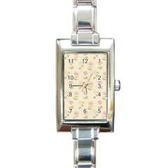Floral Paper Illustration Girly Pink Pattern Rectangle Italian Charm Watch