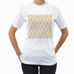 Floral Paper Illustration Girly Pink Pattern Women s T Shirt (white) (two Sided)