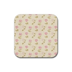 Floral Paper Illustration Girly Pink Pattern Rubber Coaster (square)