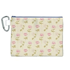 Floral Paper Illustration Girly Pink Pattern Canvas Cosmetic Bag (xl)