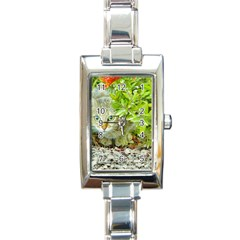 Hidden Domestic Cat With Alert Expression Rectangle Italian Charm Watch