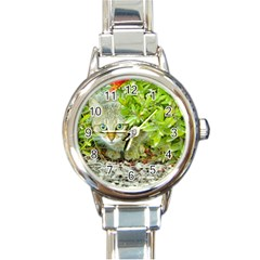 Hidden Domestic Cat With Alert Expression Round Italian Charm Watch
