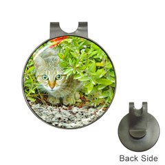 Hidden Domestic Cat With Alert Expression Hat Clips With Golf Markers